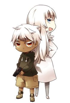 Jonah and Koko. Chibi.  (Jormungand)