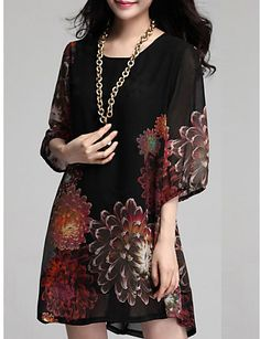 Women's Casual/Daily / Plus Size Dress,Floral Mini ½ Length Sleeve Blue / Red / Black Summer Inelastic Thin 3785735 2016 – $12.99