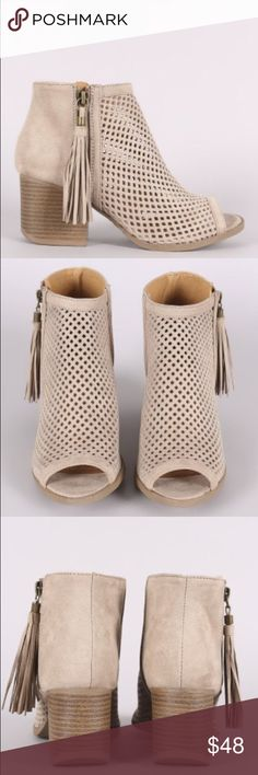 Taupe Peep Toe Booties Open Toe booties. Also available in black. Shoes Ankle Boots & Booties