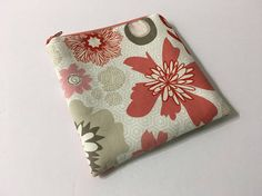 Coral and Beige Zippered Pouch Small Cosmetic Bag