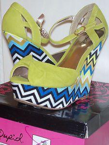 Qupid-Lime-Green-Chevron-Stripe-Velvet-Retro-Wedge-Peep-Toe-Shoe-5-5-NWD