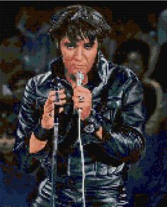 The King in a beautiful portrait taken in his 1968 Comeback concert, at the pinnacle of his career cross stitch pattern! It would make a wonderful gift for your favorite Elvis fan or just keep it for yourself.  Our charts are unlike any other available!  Each color is on a separate page that only shows a symbol where that color is to be stitched. The rest of the chart on that page is blank. Youll be amazed how easy it is! A second complete chart is also included with all symbols together…