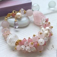 """Купить браслет """"На рассвете"""" - браслет, Браслет ручной работы, браслет из кварца, розовый кварц"""