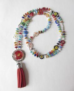 Charm- & Bettelketten - Bettelkette Glaskette  Millefiori bunt-silber - ein Designerstück von soschoen bei DaWanda