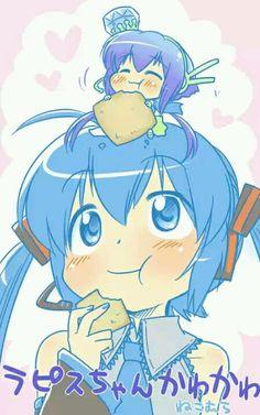 Miku Hatsune y aoki lapis Aoki Lapis, Manga Anime, Anime Art, Miku Chan, Mikuo, Hatsune Miku, Mobile Wallpaper, Chibi, Pokemon