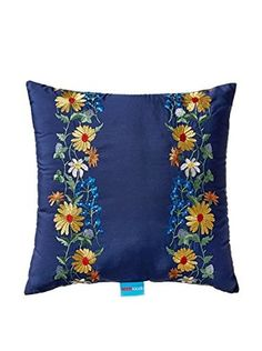 Teen Vogue Folksy Floral Square Pillow, Navy