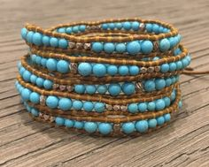 New Auth Chan Luu Graduated Turquoise Gold Five Wrap Bracelet on Tan Leather | Jewelry & Watches, Fashion Jewelry, Bracelets | eBay!