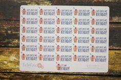 Birthday Countdown Planner Stickers 30 Day Birthday Countdown by BellaRosePaperCo #planneraddict #erincondren #birthday