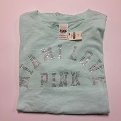 VS Pink Bling Tee NWT VS Pink Bling Tee NWT very pale pastel green color. Nothing is on the back of this tee. Bling on front only PINK Victoria's Secret Tops Tees - Short Sleeve