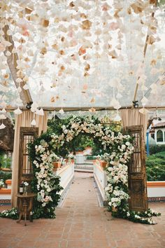 Rancho Las Lomas | El Teatro  ceremony archway natural blush pink peach champagne ivory vines vintage rustic gorgeous inviting occasion