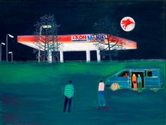 Filling Station by Tom Hammick Oil on linen, 122 x 163 cm Nocturne, Art Gallery Uk, Jackson's Art, Filling Station, Galleries In London, Paintings For Sale, Figure Painting, Contemporary Paintings, Art Blog