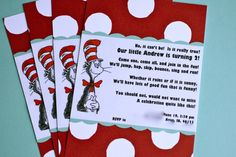 Seuss Party- Now make these baby shower invites. I so want a Dr. Seuss baby shower when I get pregnant. Dr Seuss Birthday Party, First Birthday Parties, Birthday Party Invitations, Birthday Party Themes, Boy Birthday, First Birthdays, Birthday Ideas, Abc Party, Happy Birthday