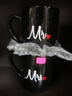 Mr & Mrs mugs. So cute! Great for a bridal shower or wedding gift! Available in multiple colors, styles and sizes! #mr #mrs #wedding #mugs #giftideas