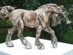 Stoneware ceramic Ceramic Sculptures #sculpture by #sculptor April Young titled: 'Heavy Horse (Ceramic Shire Carthorse Percheron statuette)' #art