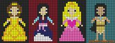 Belle, Mulan, Aurora, Pocahontas perler bead pattern by prplninja Perler Bead Templates, Perler Patterns, Loom Patterns, Beading Patterns, Cross Stitch Patterns, Pocahontas, Fuse Beads, Perler Beads, Friendship Bracelet Patterns