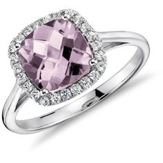 Blue Nile Lavender Amethyst and White Sapphire Halo Cushion-Cut Ring... ($200) ❤ liked on Polyvore