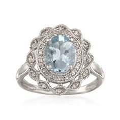 1.10 Carat Aquamarine and .10 ct. t.w. Diamond Ring in Sterling Silver