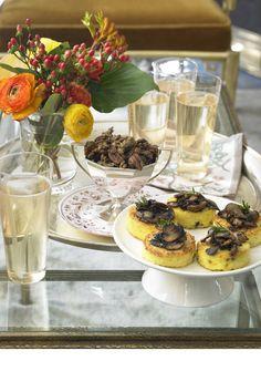 Holiday dinner ideas: Wild Mushroom-Parmesan Grits Cakes. Get the recipe on BAZAAR.