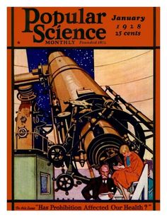Front Cover of Popular Science Magazine: January 1, 1928 Premium Poster