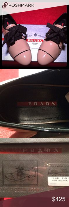 Prada Loafer Prada Tie Nude Patent loafer. In great condition with box and bag. Prada Shoes Flats & Loafers