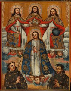 Coronation of the Virgin with the Trinity and St. Anthony of Padua and St. John of God, 18th century; Viceroyalty of Peru, Real Audiencia de Charcas (Bolivia); New Orleans Museum of Art, Museum Purchase, The Ella West Freeman Foundation Matching Fund (67.9)