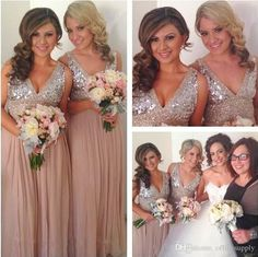 Sequins Chiffon V Neck Bridesmaid Dresses Plus Size Rose Gold Sparkly Maid Of Honor Bridal Wedding Party Gowns Maternity 2016 Custom Made Plum Bridesmaid Dresses Unique Bridesmaid Dresses From Officesupply, $91.37| Dhgate.Com