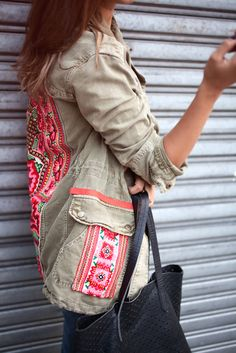 Add some embroidered fabric to your jacket | www.apairandasparediy.com