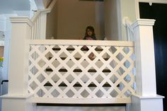 Babies always like to crawl around, and they don't know where the danger is. So DIY baby gates are very important to them. DIY Baby gates can prevent babies from climbing to dangerous places. Diy Dog Gate, Diy Baby Gate, Baby Gates, Pet Gate, Dog Gates, Baby Gate For Stairs, Stair Gate, Kids Gate, Carpet Treads