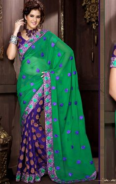 Picture of Glorious Green and Navy Blue Indian Georgette Saree