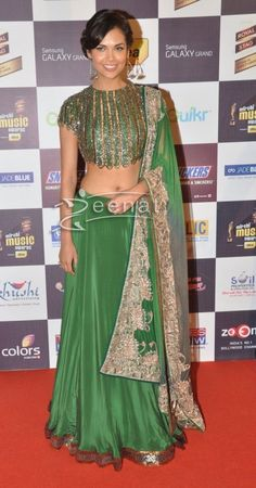 Esha Gupta In Anand Kabra and Nandita Mahtani Lehenga Dress In Henna Gold.