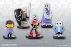 A full set of five Little Buddies! Well,1Toriel Little Buddy1Lesser Dog Little Buddy1Human Little Buddy1Papyrus Action Figure1Sans Inaction FigureBy purchasing this Complete Set, you'll save $5 and get all 5figurines packaged together in a large,windowedcollector's box.Each hand-painted vinyl figurine has aremovable base andranges in size from 2.5 to 3.6 inches tall.These official, injection-moldedUNDERTALE figurines were modeled by Gijs van Kootenand produced by our friends…