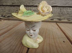 glamour girl lady head vase 50s yellow and gold by cricketcapers