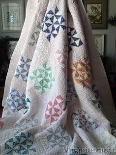 "Sweet Cottage Home Vintage 1930s Feedsack Pinwheel QUILT 78"" x 67"""