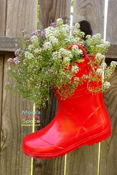 Hanging Recycled Rainboot Planters - Happiness is Homemade