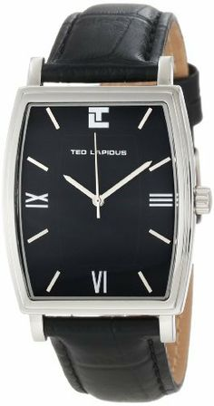 Ted Lapidus Men's 5118101 Charcoal Dial Black Leather Watch Ted Lapidus. $59.99. Water-resistant to 50 M (165 feet). Mineral crystal; polished stainless steel case; black leather strap. Japanese quartz movement. Charcoal dial with silver tone hands, hour markers and roman numerals. Silver tone second hand