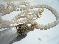 Gemstone necklace, Tassel necklace,Long necklace,White silk tassel pendant, Mala style necklace, Bohemian jewelry, White Agate necklace,