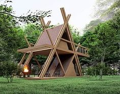 model glamping MOD perfect for nature camping resort Tiny Cabins, Tiny House Cabin, Cabin Homes, Camping Resort, A Frame House Plans, A Frame Cabin, Bamboo Architecture, Architecture Design, Glamping