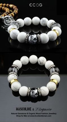 ♂ Unique Fashion Jewelry for Men - Natural howlite clear quartz crystal black onyx silver carved phoenix gemstone bracelet - Masculine & elegance