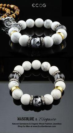 ♂ Unique Fashion Jewelry for Men - Natural howlite clear quartz crystal black onyx silver carved phoenix gemstone bracelet - Masculine & elegance