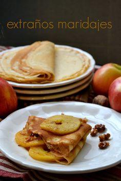 Crêpes con manzana y nueces