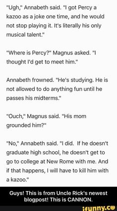Directly from Rick Riordan? Percy Jackson Head Canon, Percy Jackson Quotes, Percy Jackson Fan Art, Percy Jackson Books, Percy Jackson Fandom, Percabeth, Solangelo, Rick Riordan Series, Rick Riordan Books