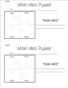 Main Idea/ Details Graphic Organizers free