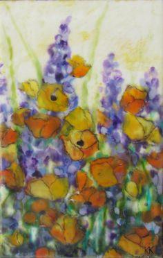Original Encaustic Painting--Poppies & Hyacinth--Beeswax Art--KLynnsart. $75.00, via Etsy.
