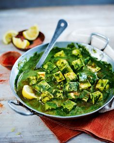 Spinach and paneer curry - Paneer is a type of Indian cheese used in vegetarian curry dishes, if you don't like it you can swap it for boiled, cubed potatoes.