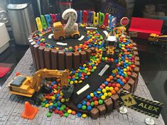 Super Birthday Cake Boys Construction Ideas Super Birthday Cake Boys Construction Ideas This image has get. Birthday Cake Kids Boys, Truck Birthday Cakes, Birthday Desserts, Birthday Cake Smash, Digger Birthday Cake, Birthday Ideas, Birthday Gifts, Bolo Hot Wheels, Cupcakes Lindos