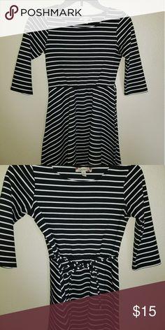 Girls stripe dress Black and White stroke 3/4 sleeves dress Speechless Dresses Long Sleeve