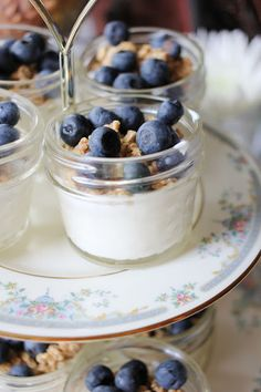 Yogurt, granola and fruit parfaits for bridal or baby shower brunch.