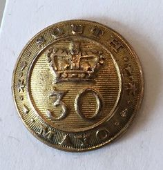 Rare Irish Militia Button, South Mayo 30, Uniform, Volunteers, Army, Ireland