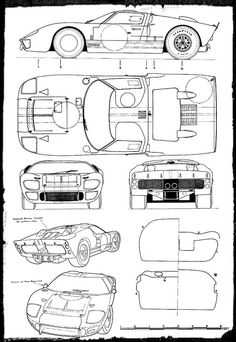 Car blueprint blueprints cars pinterest cars car drawings gt40 blueprint malvernweather Images