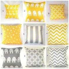 Pillows, Nursery, Children, Kids, Yellow Pillows, Baby Boy, Baby Girl, Decorative Pillows, Gray Pillows, Pillow Covers, Various Sizes